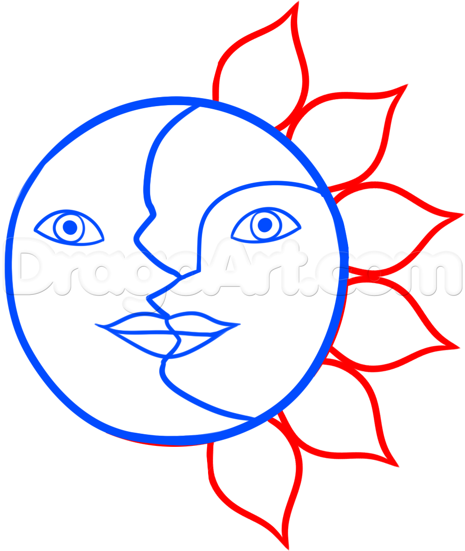 How To Draw The Sun And Moon Face By Dawn With Images Moon