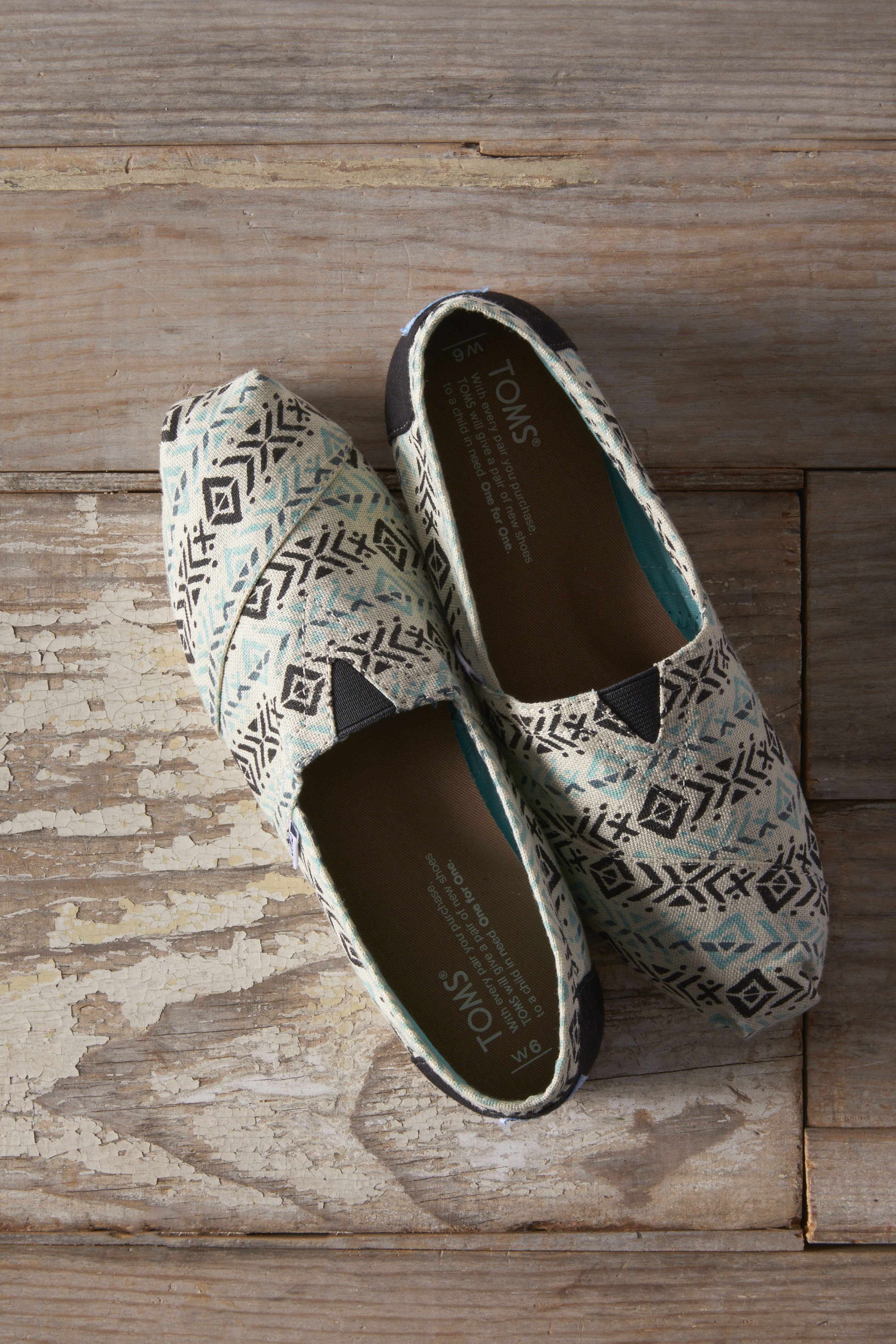 b6c71c35a42 Add a pop of print with Blue Multi Tribal Print TOMS Classics. Tribal Shoes