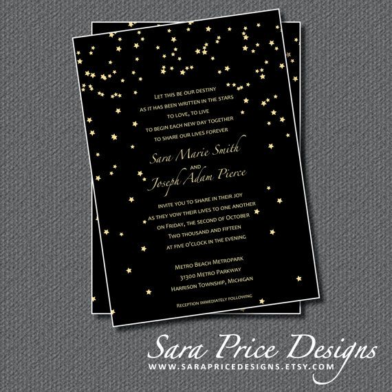 star themed print your own wedding invitations by sarapricedesigns