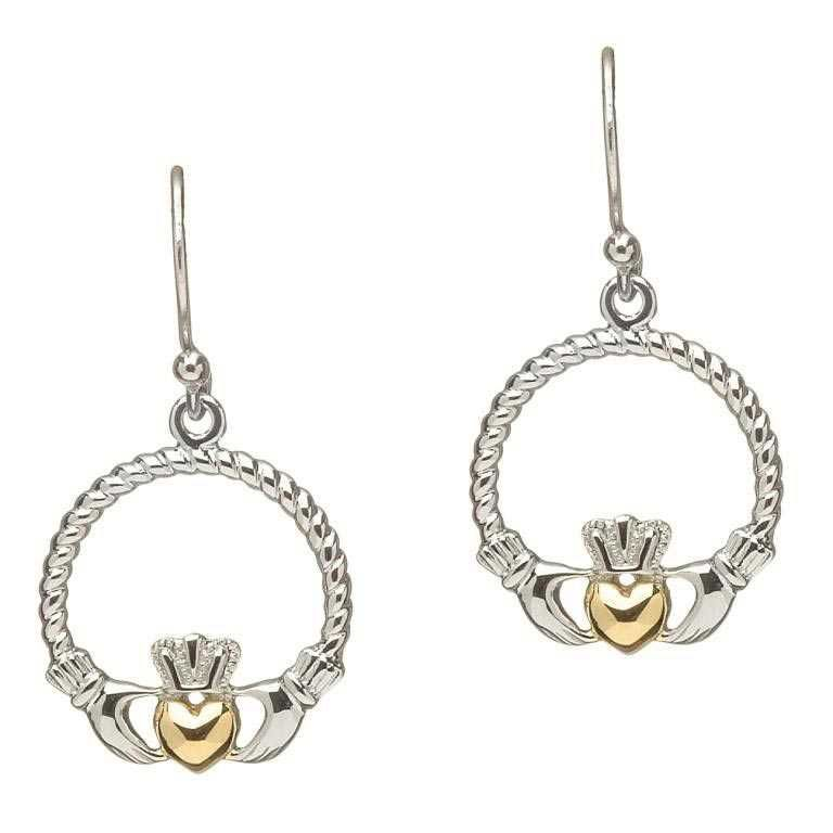 Claddagh Silver Gold Plate Heart Earrings