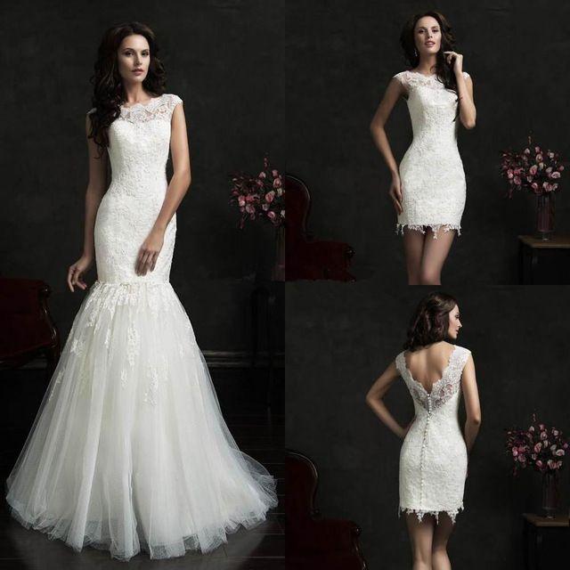Elegant Wedding Dresses 2017Detachable Skirt Lace Mermaid Wedding Dresses Vintage O Neck Two Pieces Wedding Gowns Wedding Gowns Plus Size 2017 Wedding Weddingdresses