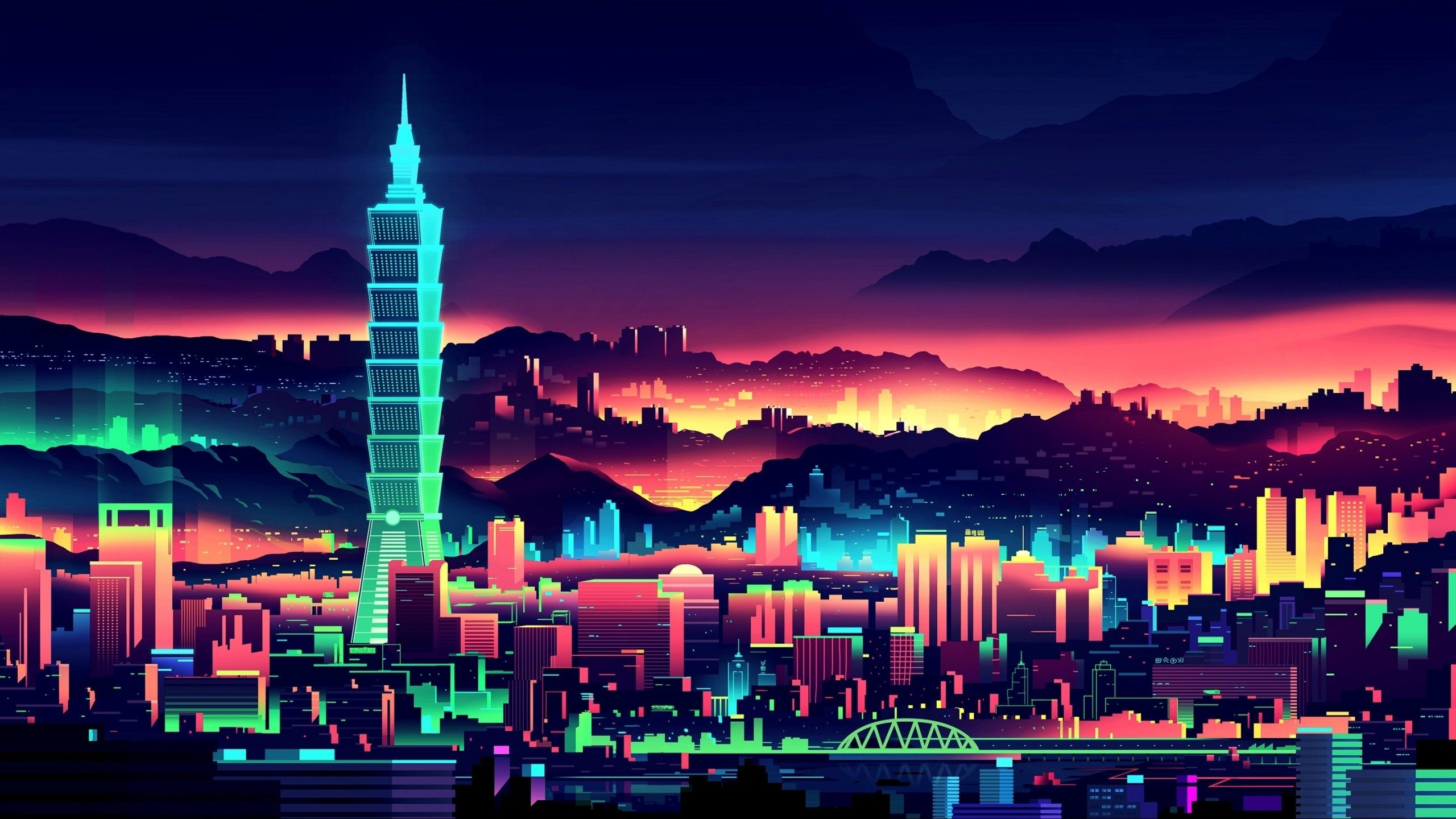 2560 X 1440 Wallpaper Dump Vaporwave Wallpaper City