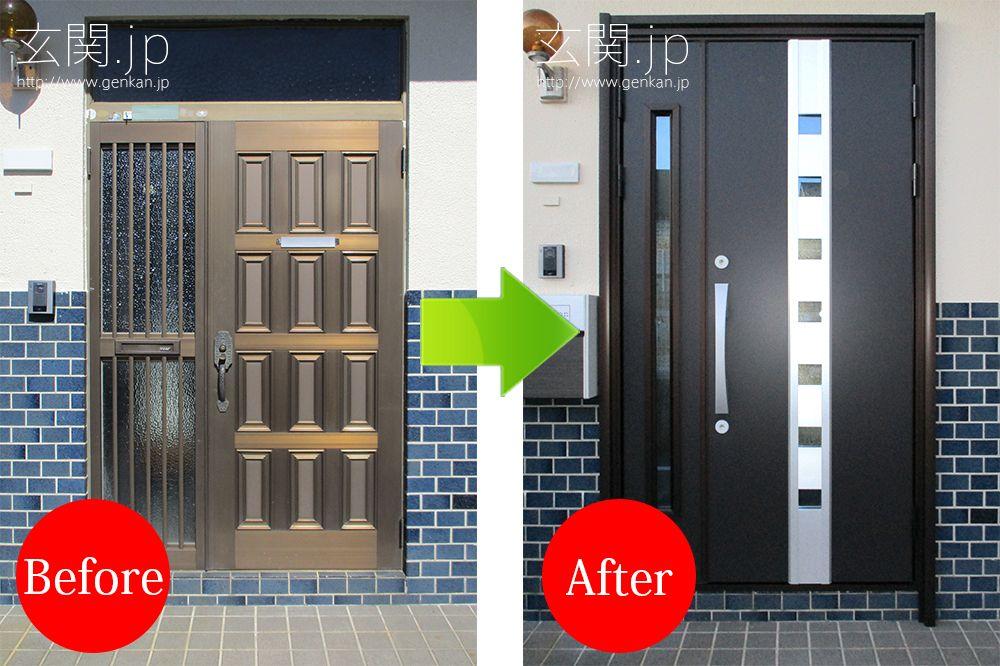東京都t様邸 玄関ドア交換施工例 三協アルミ ラフォースr2 65型 親子ドア ホットブラウン色 木造住宅 玄関ドア ドア 玄関