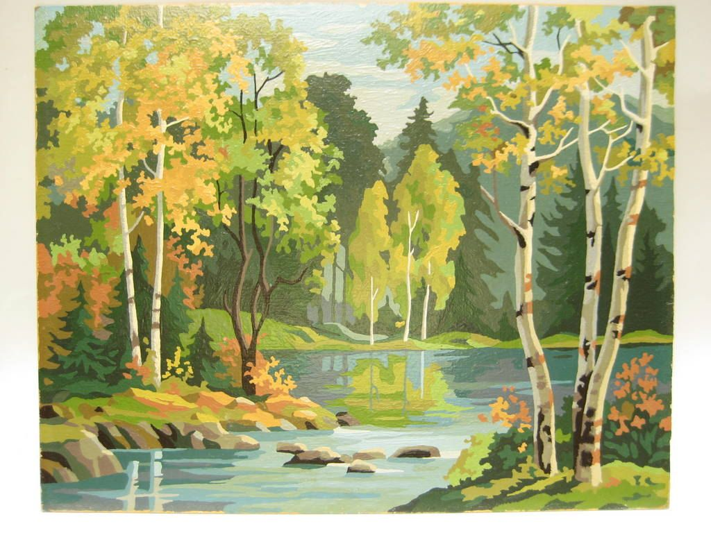 Vintage Paint By Number Pbn Landscape Woodland Stream Vintage Landscape Vintage Painting Geometric Painting