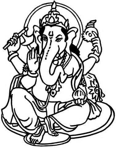Lord Ganesha Coloring Pages sketch template | STENCIL | Pinterest ...