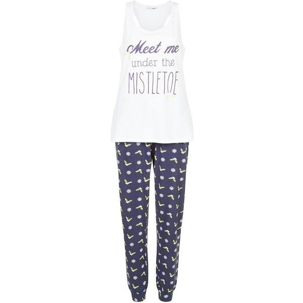 Blue Meet Me Under the Mistletoe Print Pyjamas Set (200 SEK) ❤ liked on Polyvore featuring intimates, sleepwear, pajamas and blue pajamas