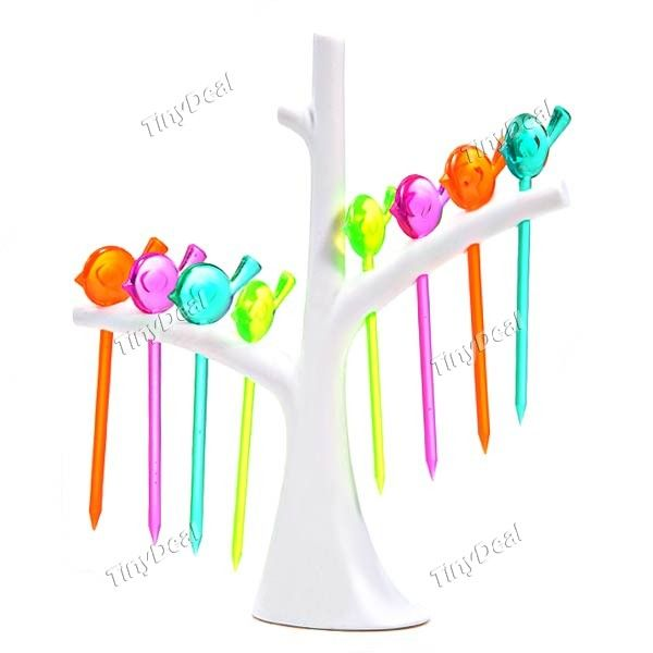 8pcs Bird Style Fruit Forks Pickers with Fork Holder HKI-263689