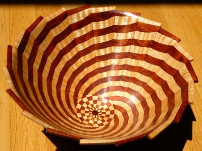 """Bubinga, Curly Maple Wood """"Tornado"""" composed of 581 individual wood pieces by Steve Bernstein"""