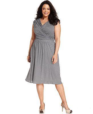 Charter Club Plus Size Dot Print Faux Wrap Dress Plus Size Dresses