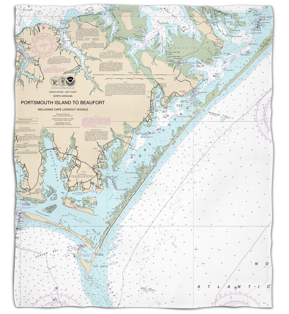 Nc Portsmouth Island To Beaufort Nc Nautical Chart Fleece Throw Blanket Nautical Chart Portsmouth Island Beaufort