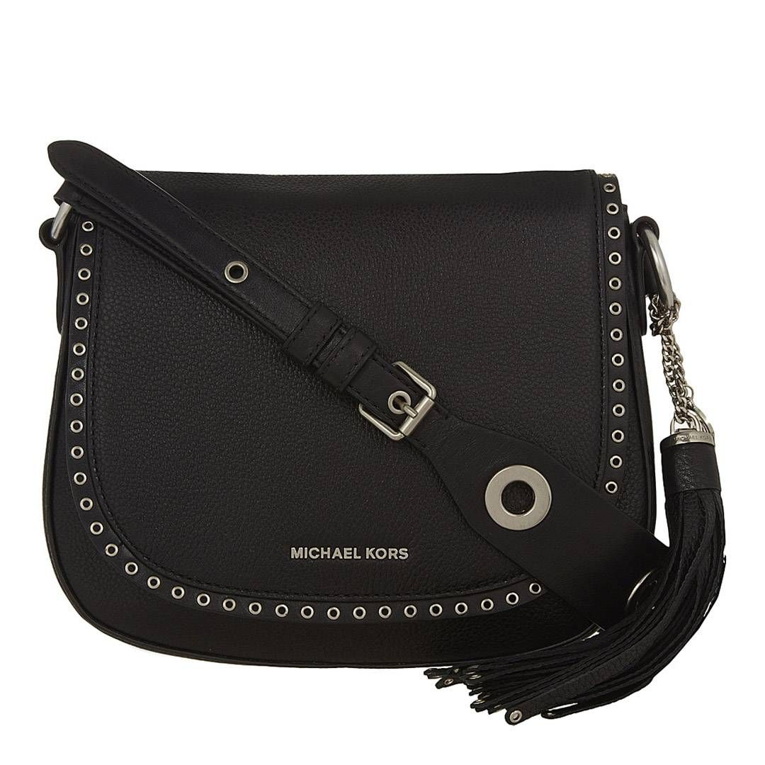 86d28dc1b2060 Michael Kors Black Leather Brooklyn Saddle Bag