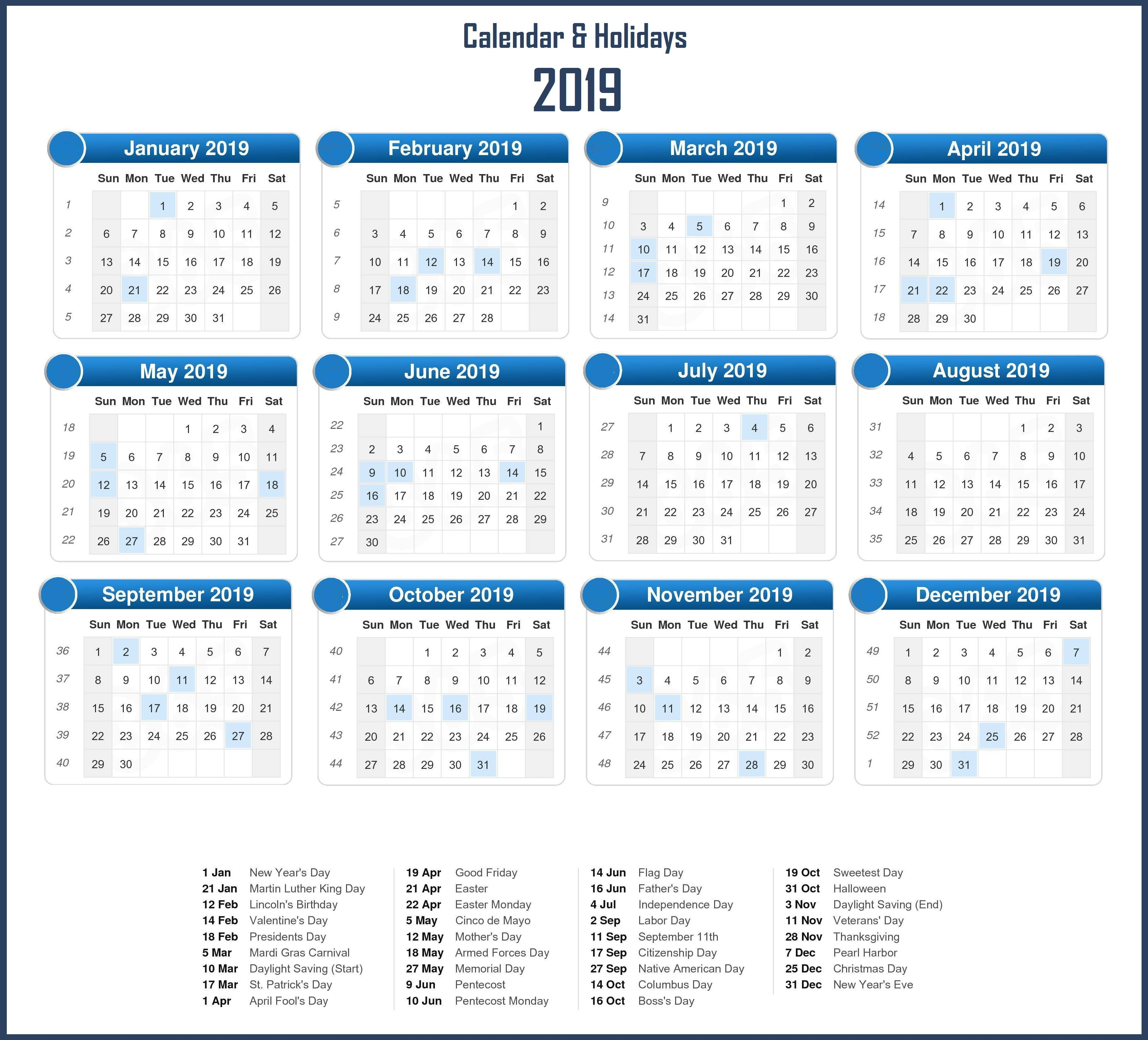 Printable 2019 Holidays Calendar Templates Monthly Calendar
