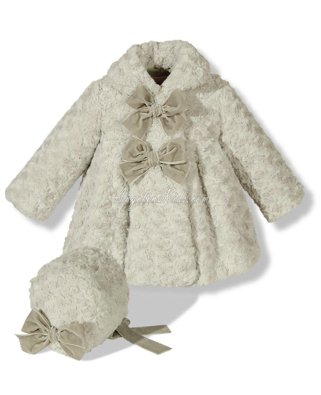 72d2abbd1 Abrigo de pelo con capota en gris Ropa Navideña, Vestidos Bebe Niña,  Vestidos De