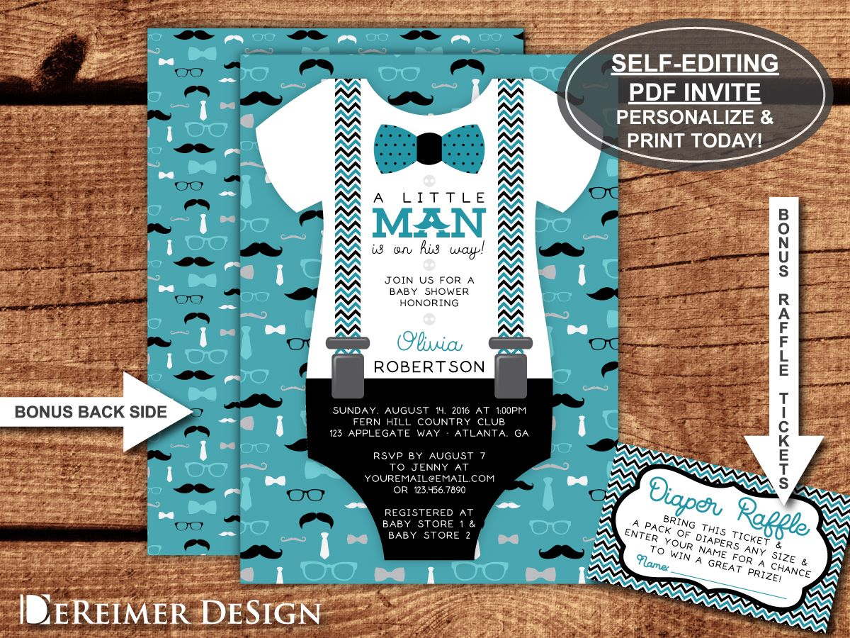 baby shower invitation wording for bringing diapers%0A Little Man Baby Shower Invitation in Teal and Black with free diaper raffle  ticket file