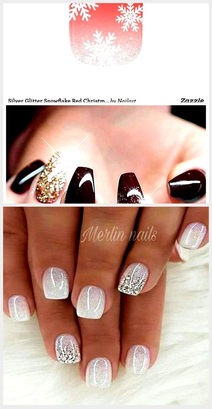 Silver Glitter Snowflake Red Nail Art   Zazzle   red and green christmas nails s …