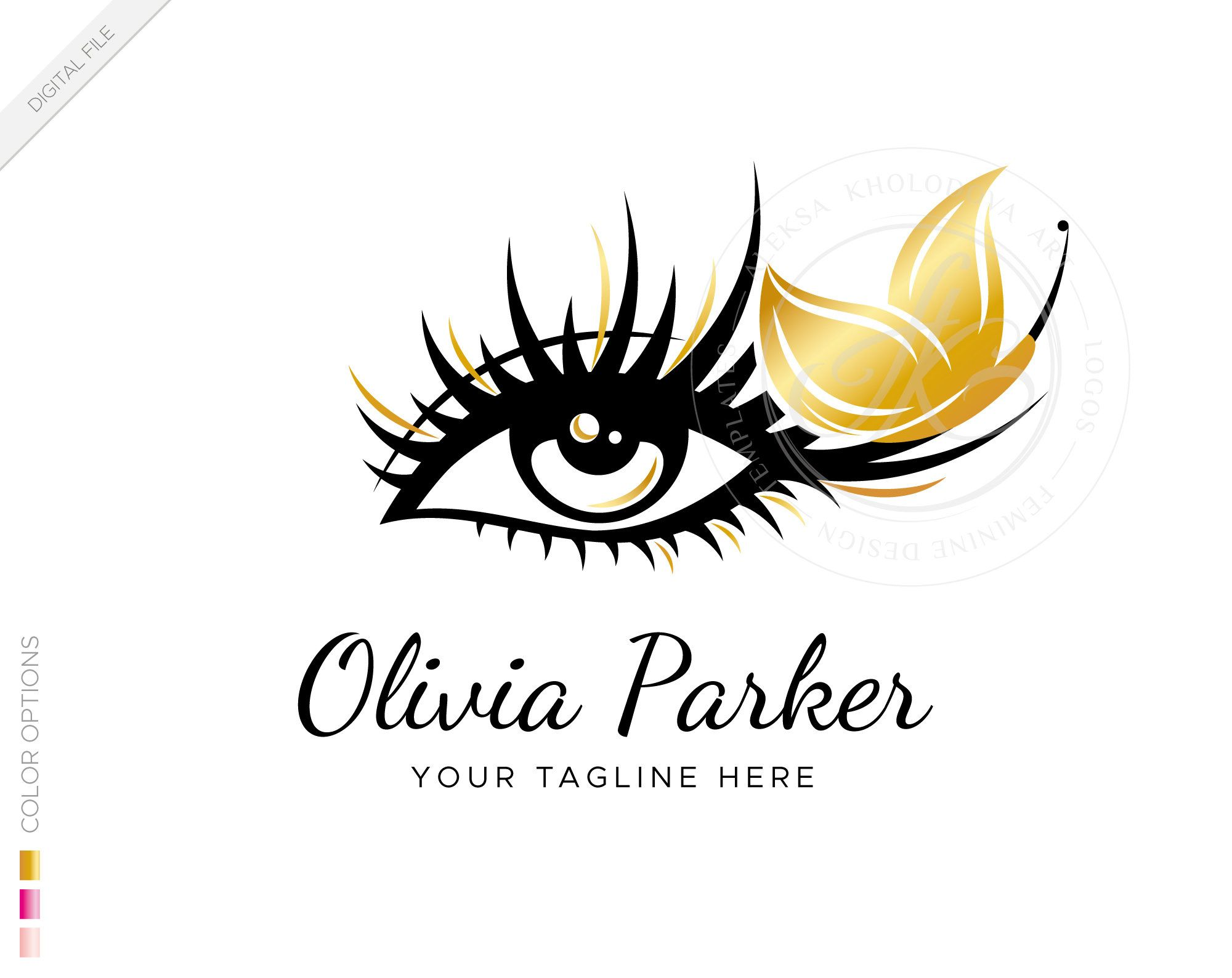 Digital premade Eyelash extension logo template with a