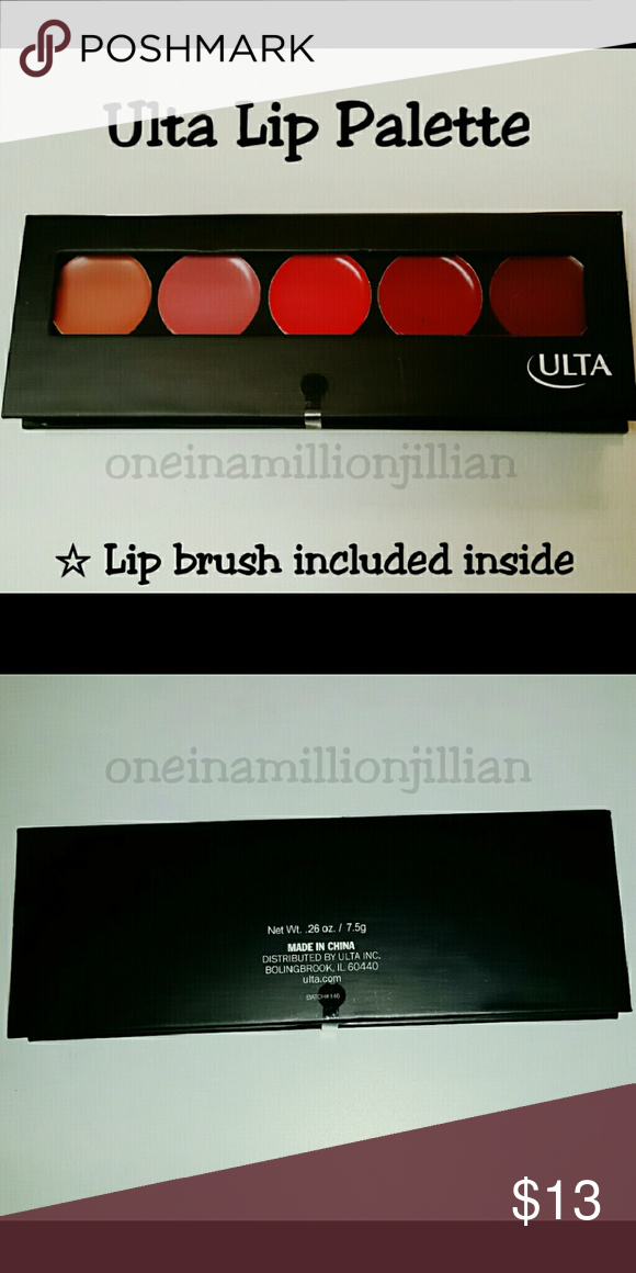 JUST IN! Ulta Beautiful Face 5 Color Lip Palette Brand New / Sealed   Full Sz & Authentic   Ulta's Beautiful Face Lip Palette contains 5 shades packed with intense color for your lips to create the perfect look. It is a must-have for this season's hottest trends! Lip brush included  for quick & easy application.  Don't forget to check out the rest of my page for more great items & discounts. Ulta Makeup Lipstick