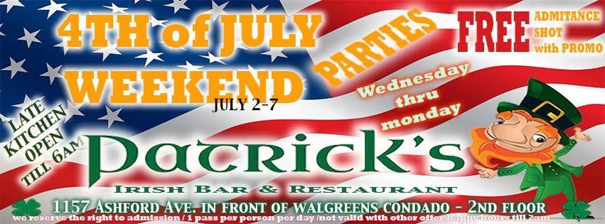4th Of July Long Weekend Bash Patrick S Irish Bar Amp Restaurant Condado Sondeaquipr 4julio Patricksirishbar Co Restaurant Bar Irish Bar Promo Weekend