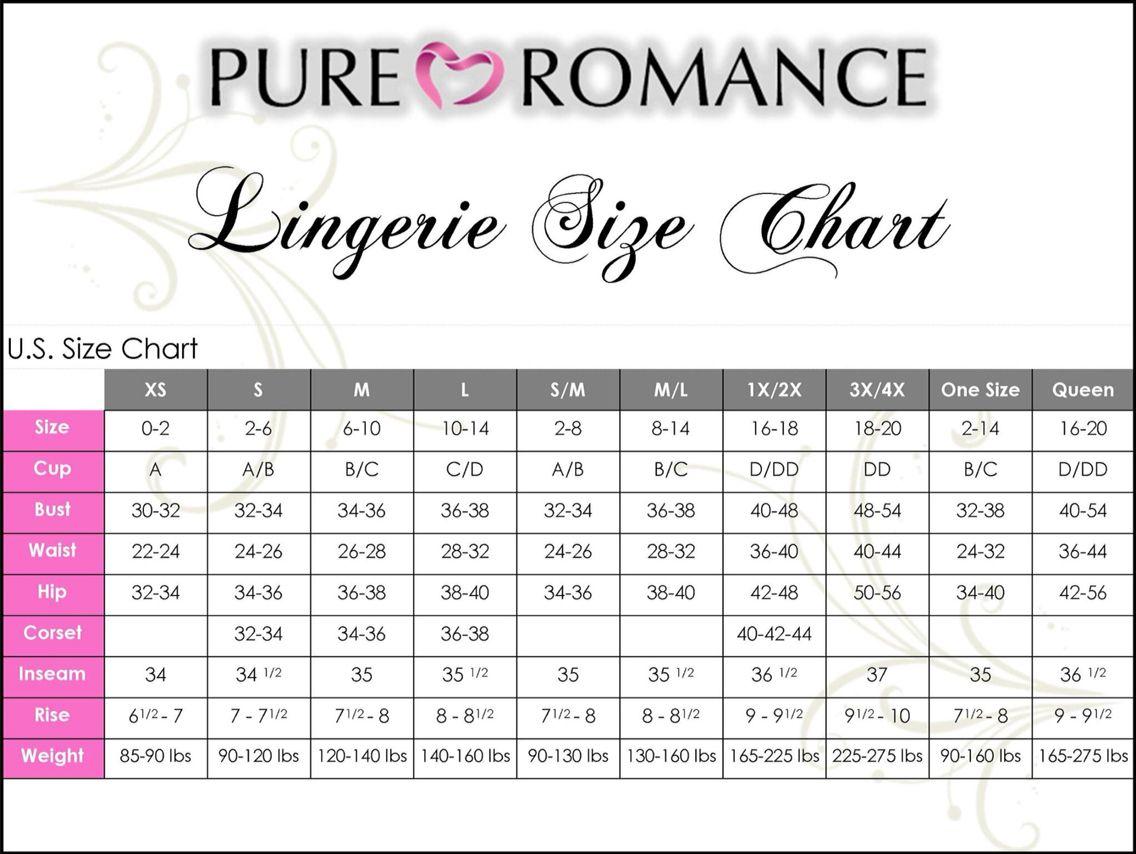 7bfb0e2e44 Our lingerie size chart.