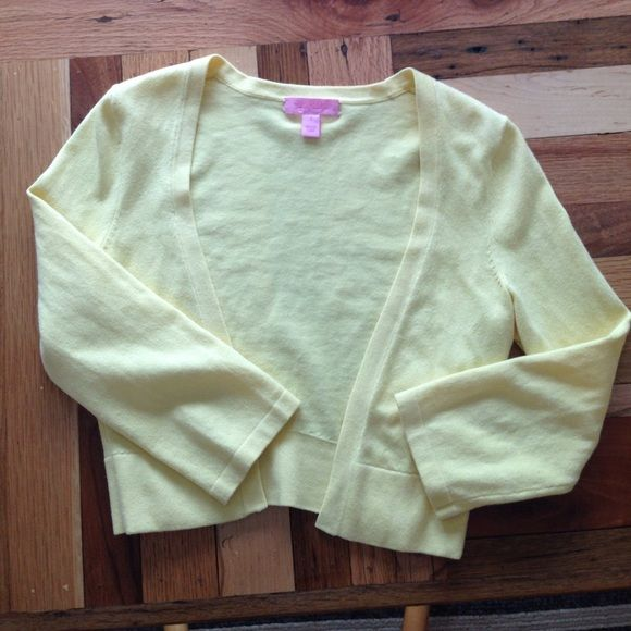 Pale yellow cardigan. 3/4 sleeves. Looks great with any Lilly dress. Lilly Pulitzer Sweaters Cardigans