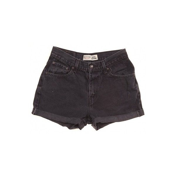 Rokit Recycled Levi's Black Denim Turn Up Shorts W29 ❤ liked on Polyvore featuring shorts, bottoms, black, short, denim short shorts, mini shorts, denim overalls, denim bib overalls and bib overalls
