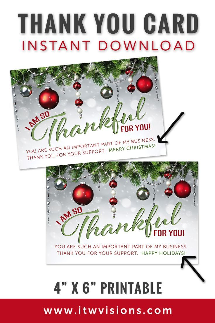 """Holiday Thank You Card 4"""" x 6"""" Merry Christmas Merry"""