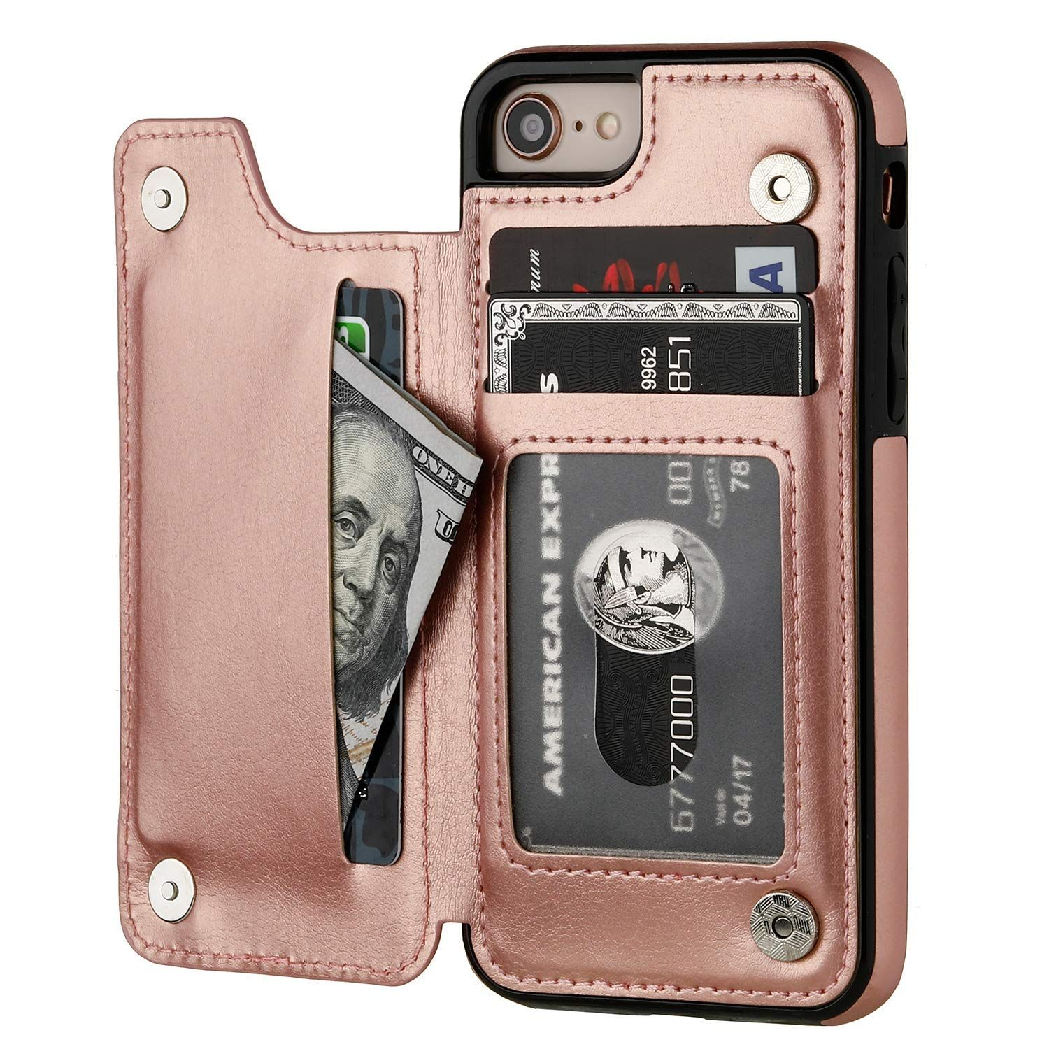 premium selection cdbc8 38c8e Amazon.com: iPhone 8 Wallet Case with Card Holder,OT ONETOP iPhone 7 ...