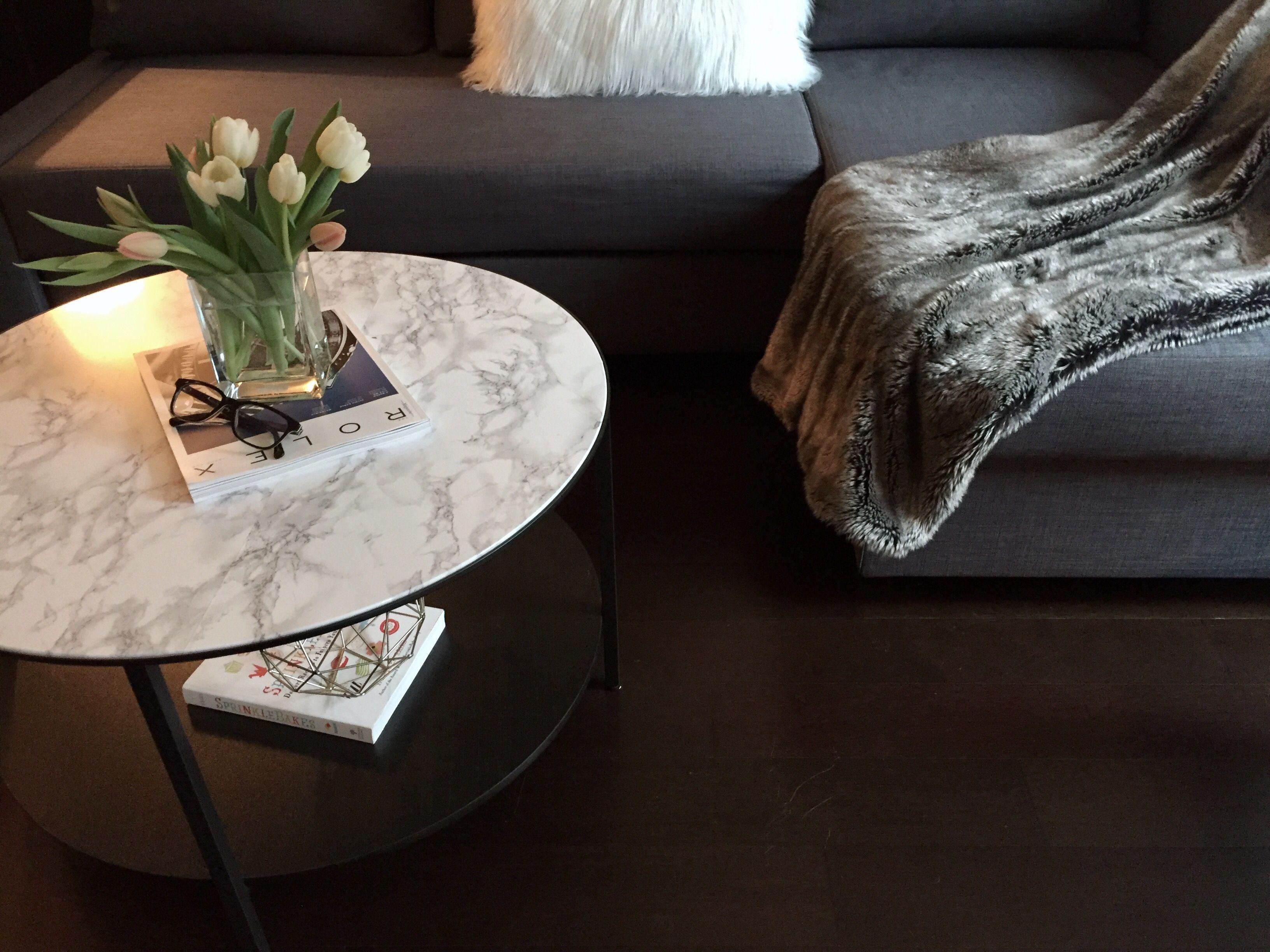 Vittsjo coffee table IKEA hack diy fauxmarble