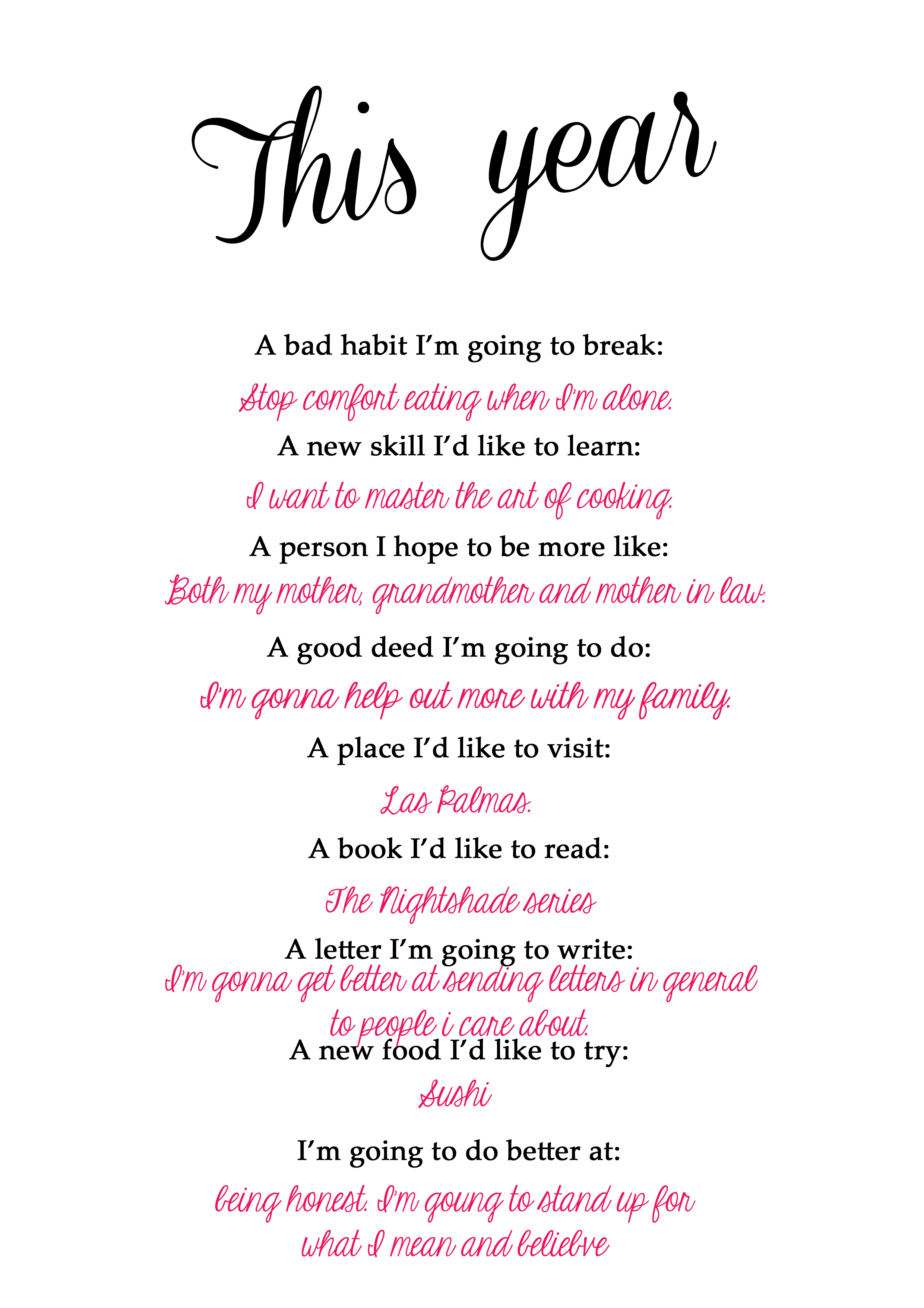Free Printable About Resolutions For The New Year