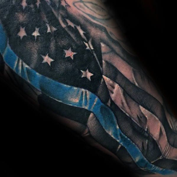 cool thin blue line american flag male sleeve tattoo design ideas