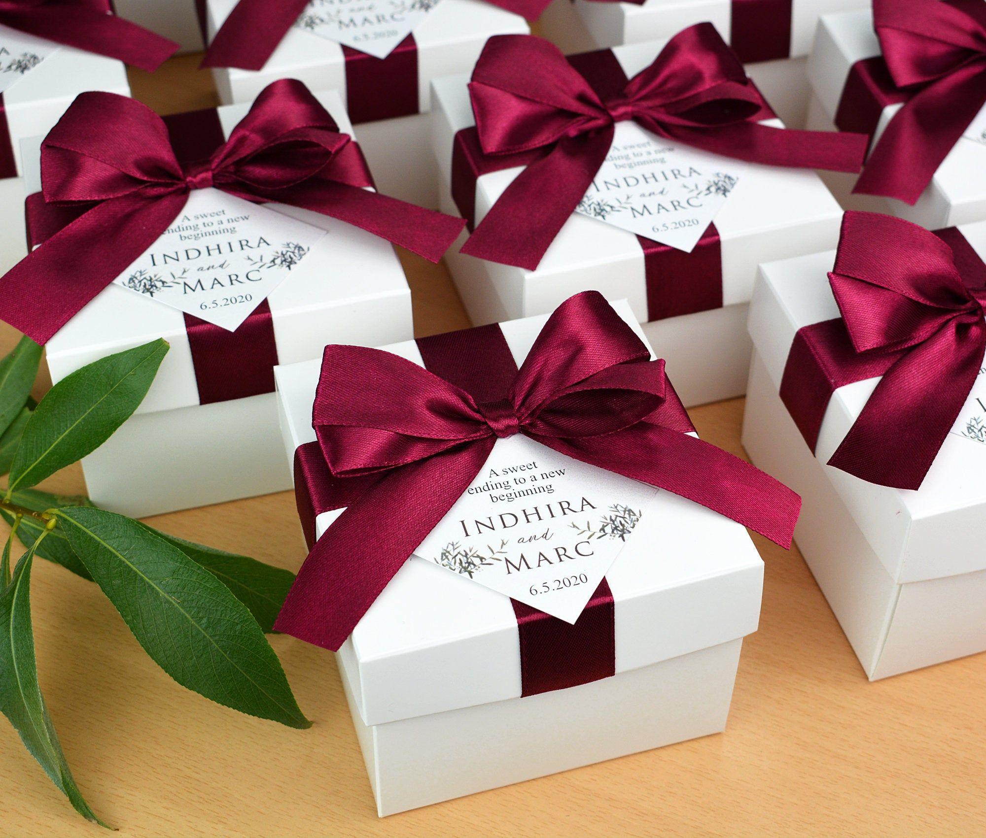 Elegant Wedding Favor Box With Wine Burgundy Satin Ribbon Bow Etsy In 2020 Champagne Wedding Favors Wedding Favor Boxes Personalized Wedding Box