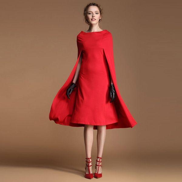Fashion Boat Neck Cape Shape Red Dress Fashion Dress Party Dresses Red Dress Maxi