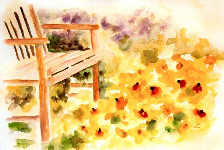 Summer in the Park [Available]<br />Copyright 2013 Lynne Furrer All Rights Reserved on Watercolor Bloom  http://www.watercolorbloom.com/social-gallery/summer-in-the-park-available