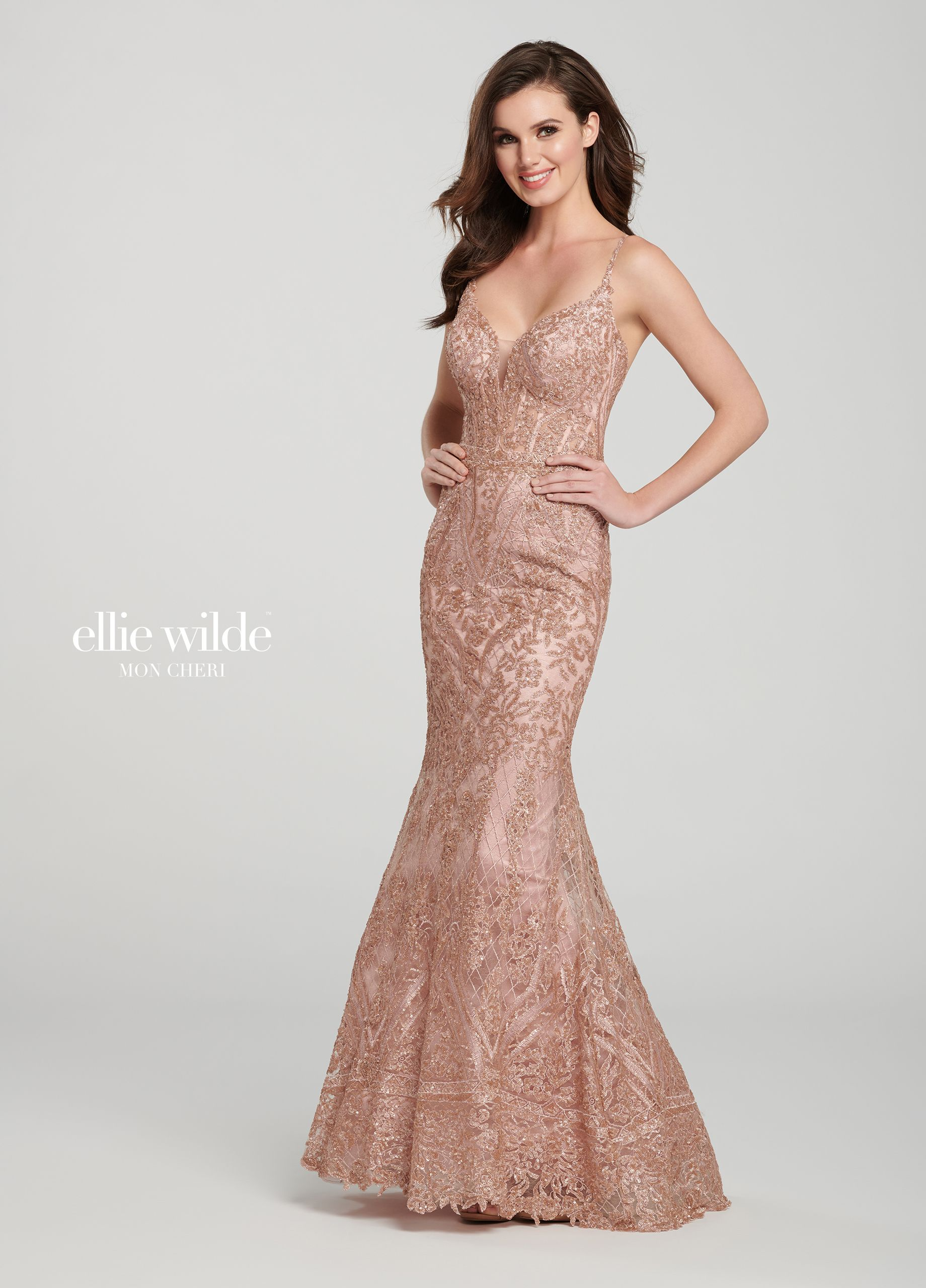 66cf4d4b Ellie Wilde EW119088 - Sleeveless fit and flare sequin embroidered gown  features a deep plunging sweetheart neckline with an illusion panel, ...