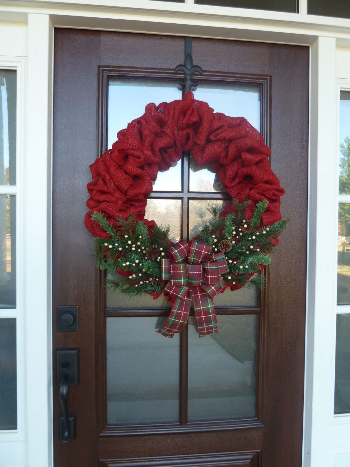 Front door christmas wreaths - Burlap Christmas Wreath Winter Burlap Wreath Rustic By Luxewreaths