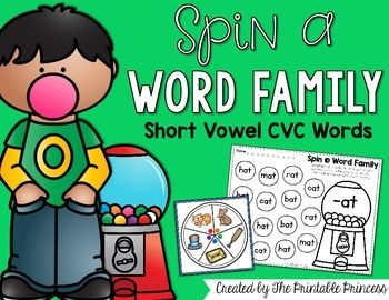 This CVC word family packet is easy to prep and will help students read, recognize, and distinguish short vowel words. There is enough CVC word family activities in this packet to make 22 different centers! Just print, cut, and laminate the spinner and print the corresponding recording sheet.