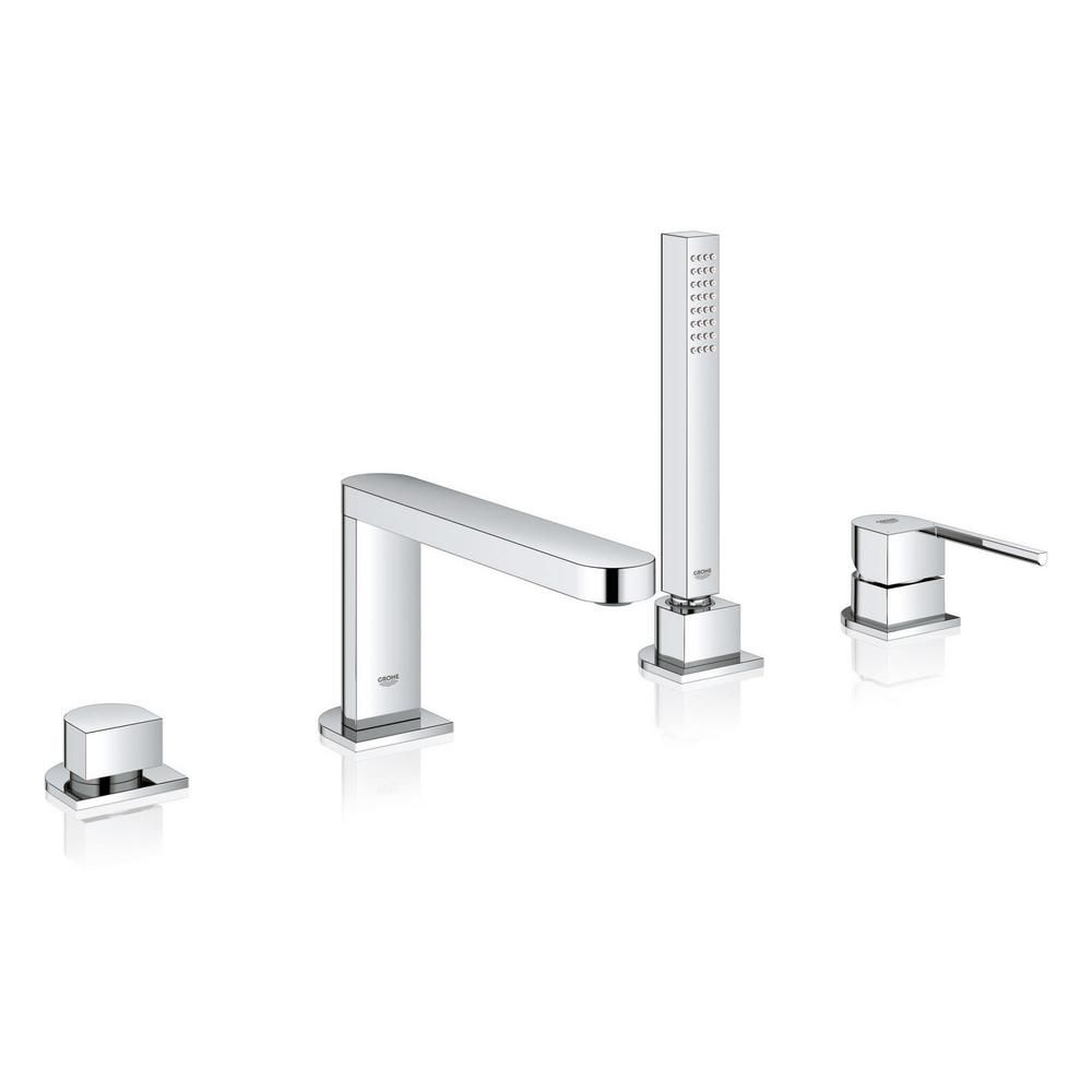 Grohe Plus Single Handle Deck Mount Roman Tub Faucet With Hand
