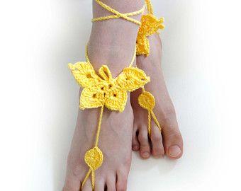 Lace Barefoot Sandals. Gehaakte voet juwelen. Lace