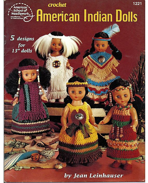 American Indian Dolls - 13 inch Crochet Doll Clothes Pattern - American school of Needlework 1221 #indianbeddoll