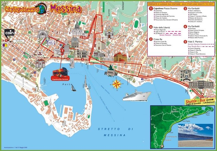 Messina sightseeing map Maps Pinterest Messina Italy and City