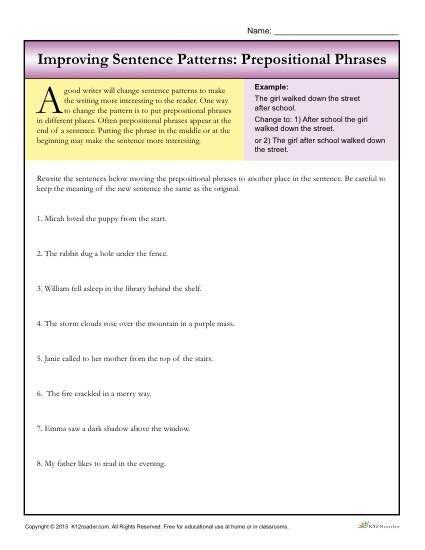 Sentence Patterns Prepositional Phrases Writing Worksheets Prepositional Phrases Prepositional Phrases Activities Writing Worksheets Prepositional phrases worksheets middle