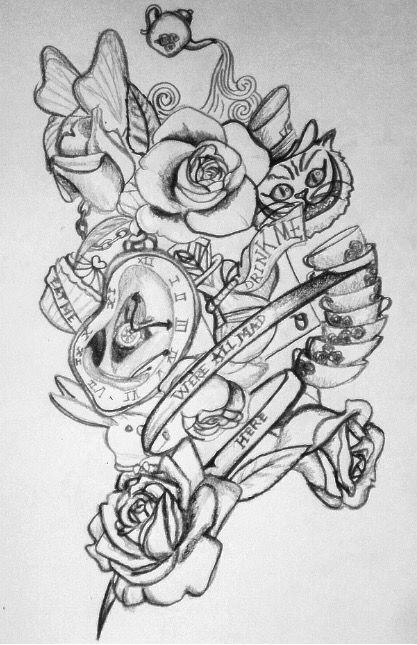 My Drawing For Alice In Wonderland Tattoos Drawing