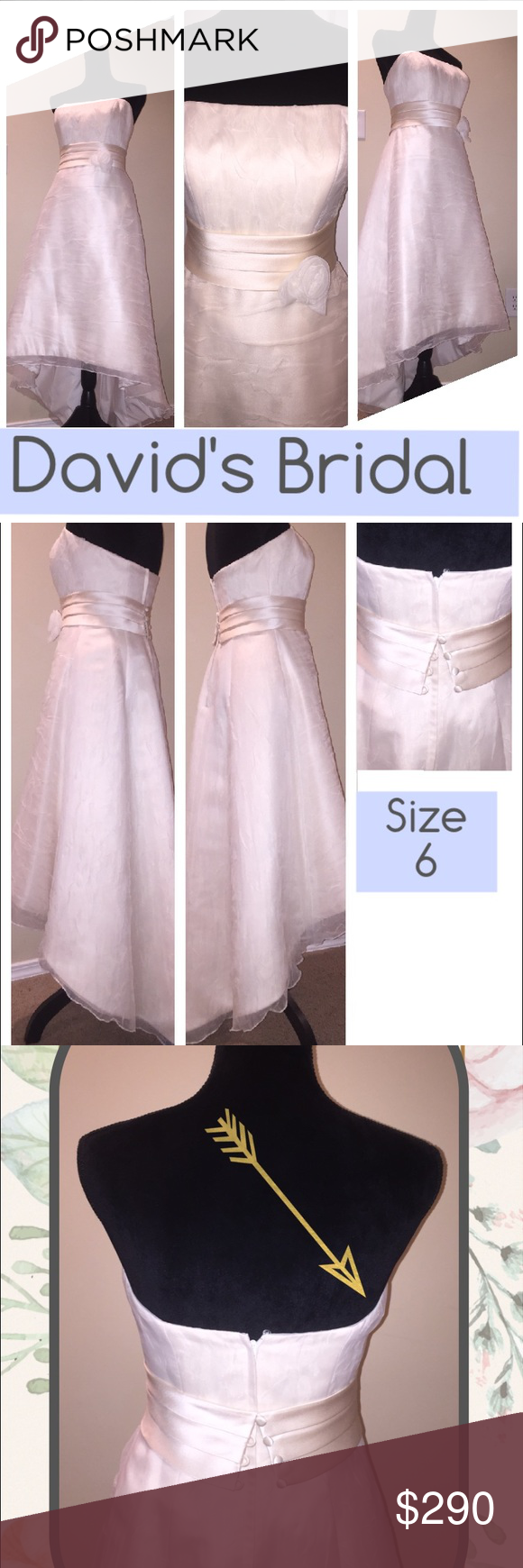 "David's Bridal hi/low wedding gown - Size 6 Wedding dress - Size 6 Color: ivory/off white Style: Hi/Low Front length from waist: 28"" Back length from waist: 42"" Best fits height 5.1""-5.6"" and Bra size 34B/34C. Depending how far you want the dress from the floor. Belt 3""W sewn to the dress Defect: A little detail on the right side (photo 3)  $765 with alterations David's Bridal Dresses Wedding"