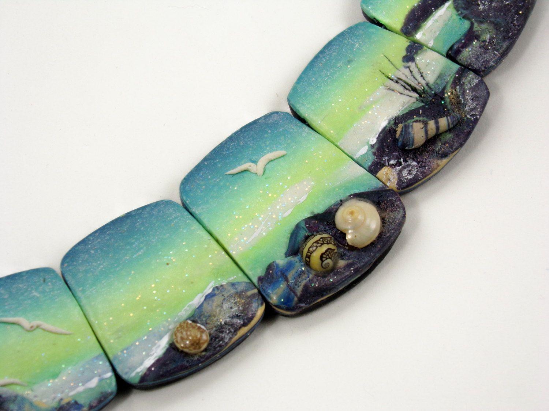 Beach themed polymer clay statement jewelry set
