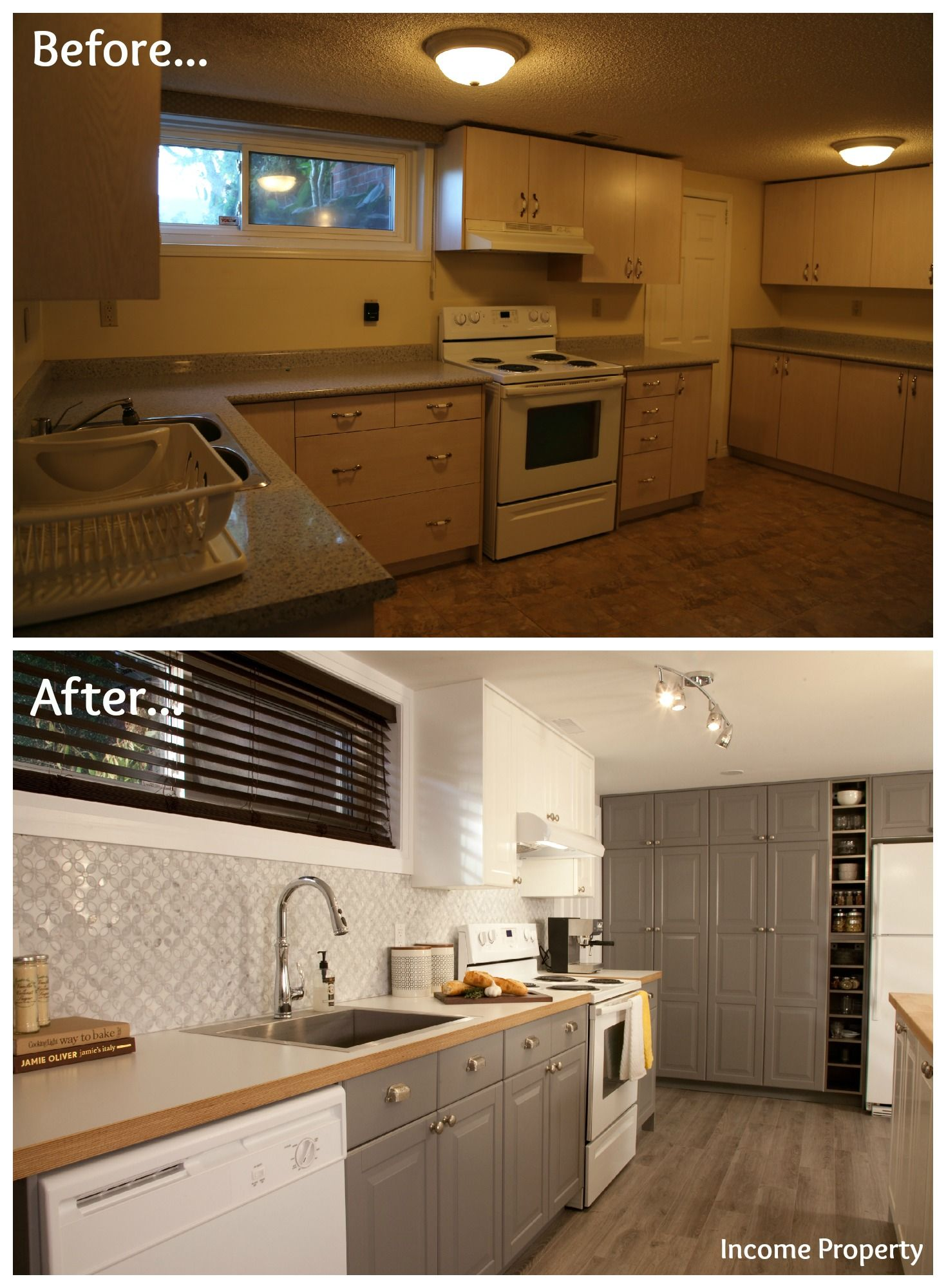 A grungy basement kitchen gets an income property makeover for Income suite house plans