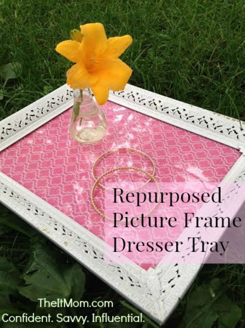 Repurposed Picture Frame Dresser Tray. Definitely making this. It's too cute!
