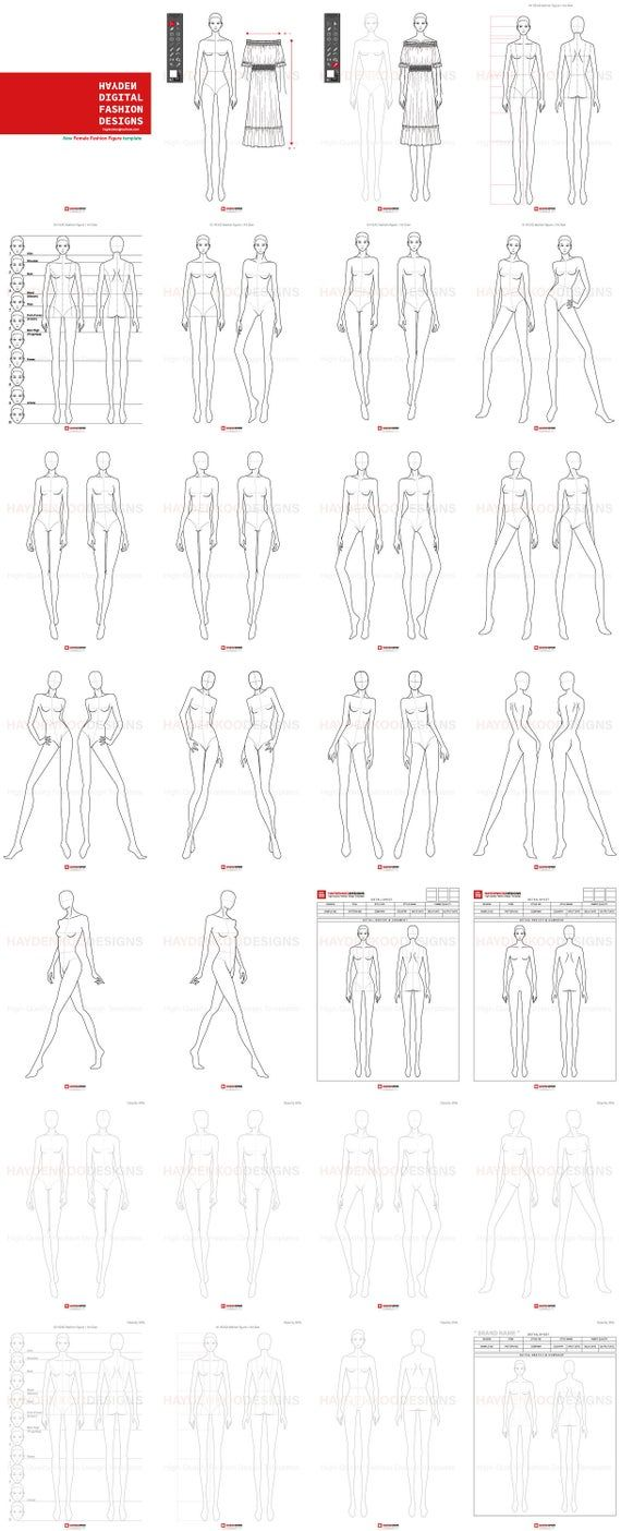 Womens 10Head Body Figure Template (30 poses) for Fashion illustration, Fashion flat sketch, Apparel design, Digital prints