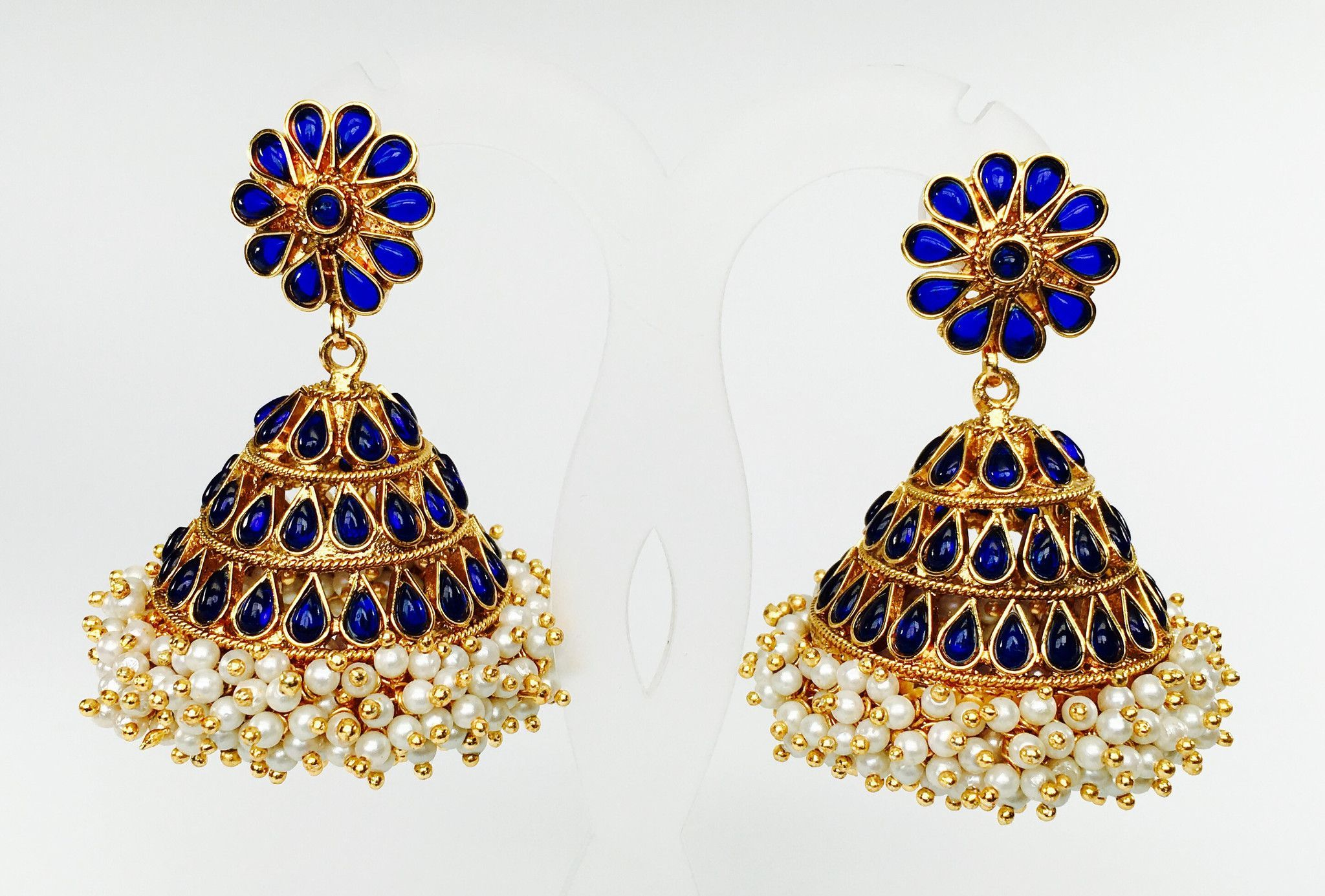 Traditional large kemp jhumkas with gunghroo pearls | Traditional ...