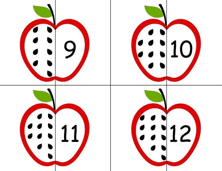 Bu Sayfamizda Sayi Ogretiminde Kullanilabilecek Harika Elma Puzzle Calismalari Yer Almaktadir Okul Oncesi Donemde Bu Tarz Calismalar Ver Elmalar Kartlar Puzzle