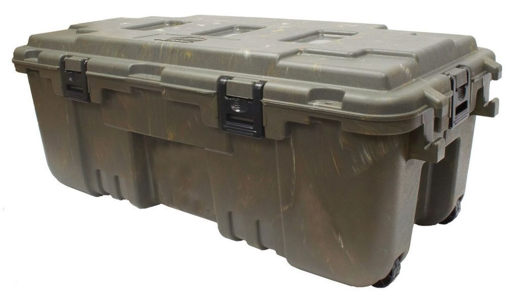 L Lockable Storage Trunk Wheels Travel Security Case Tote Box Lock Military